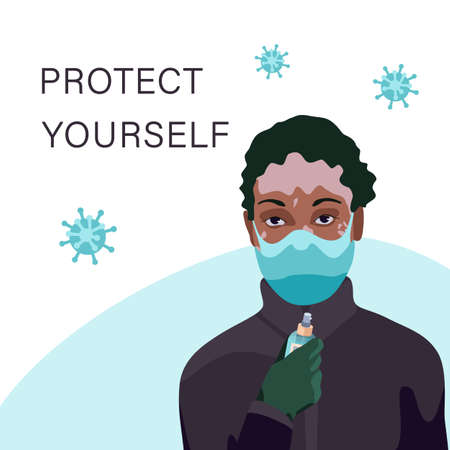 Vitiligo woman in mask on white backdrop. Protect yourself text for social banner or propaganda, hygiene promotion, medical poster. Chemist shop logo or card. Flat style stock vector illustration