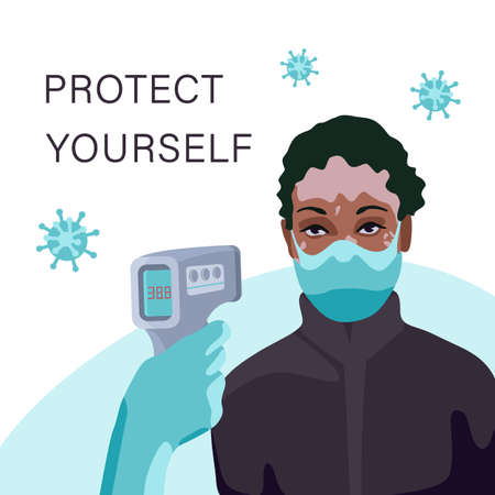 Vitiligo woman in mask at temperature scanning on white backdrop. Protect yourself text poster for social banner or propaganda, hygiene promotion, medical poster. Flat style stock vector illustration