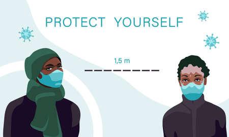 Black and vitiligo women in masks on white backdrop. Social dictance for social banner or propaganda, hygiene promotion, medical poster. Chemist shop logo or card. Flat style stock vector illustration