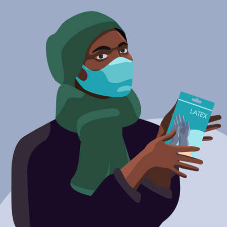Black woman with medical gloves on gray backdrop. African woman in mask for social banner or propaganda, hygiene promotion, medical poster. Chemist shop info card. Flat style stock vector illustration