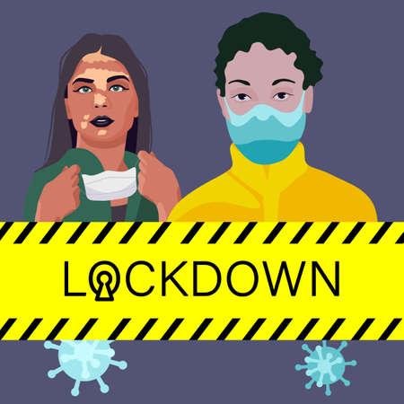 Vitiligo people in masks on gray backdrop. Lockdown poster for social banner or propaganda, hygiene promotion, medical poster. Chemist shop logo or info card. Flat style stock vector illustration