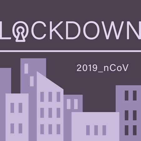 Night cityscape lockdown on gray backdrop. Covid quarantine poster for social banner or propaganda, hygiene promotion, medical poster. Chemist shop info card. Flat style stock vector illustration Vectores