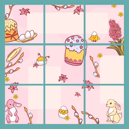 Media network easter holiday spring art collage Vectores