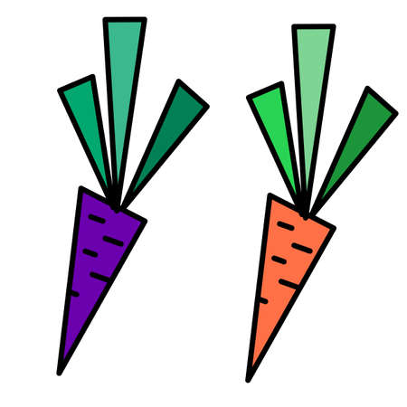 Two geometrical carrots on white isolated backdrop