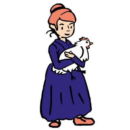 Old farmer lady in violet vintage apparel dress