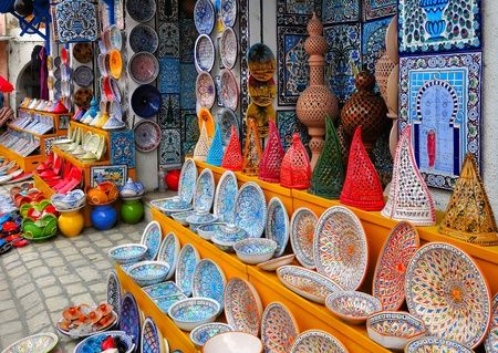 handicrafts: Colorful Tunisian pottery in front of the souvenir store in Nabeul, Tunisia