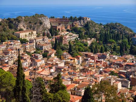 Panoramic view of famous resort town Taormina, Sicily, Italy Imagens