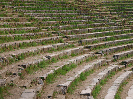 The steps of the ancient amphitheater, overgrown with grass. 写真素材