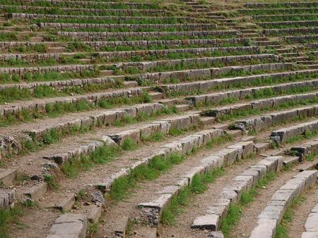 草の生い茂った、古代円形競技場のステップ。 写真素材