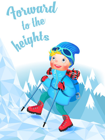 Cheerful Climber climbing a snowy mountain