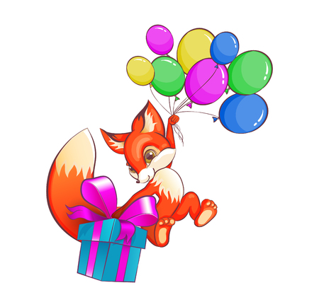 Funny flying fox on balloons with a box of gift.