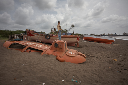 Gujarat, India, August 2009. Remains on the beach of the shipbreaking at Alang beach.