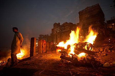 Varanasi, India, January 2008. Manikarnika Ghat, the city's main crematorium at night.