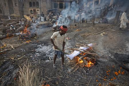 Varanasi, India, January 2008. Manikarnika Ghat, the city's main crematorium.