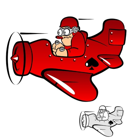 small plane: Raster version of  illustration .Cartoon airplane and pilot  Stock Photo
