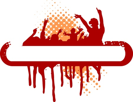 party illustration with crowd silhouettes and design elements Vector