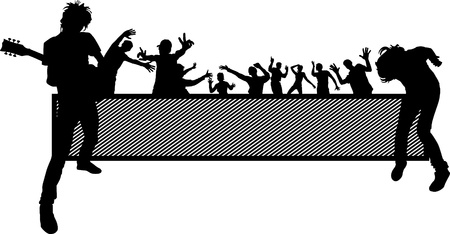 party illustration with crowd silhouettes and design elements
