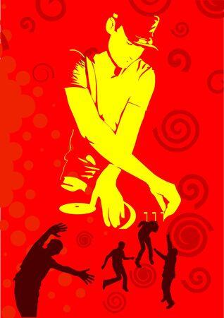 disk jockey: illustrazione artistico di dj rosso silhouette
