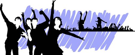 silhouette of a group of people at a music or party