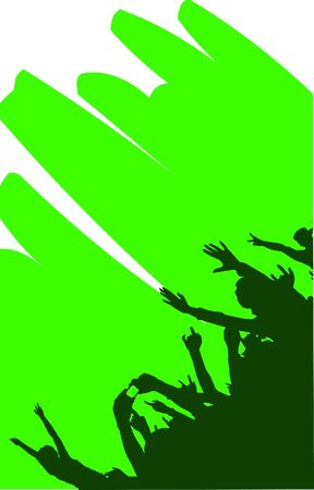 silhouette of a group of people at a music or party Vector