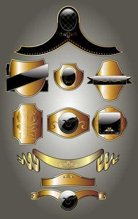 Gold frames decorative label illustration Vector