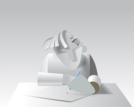 Paper model of the artist or designer on a white background Vector eps10