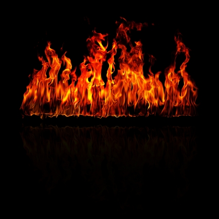 Fire flames on a black background Stock Photo - 18317013