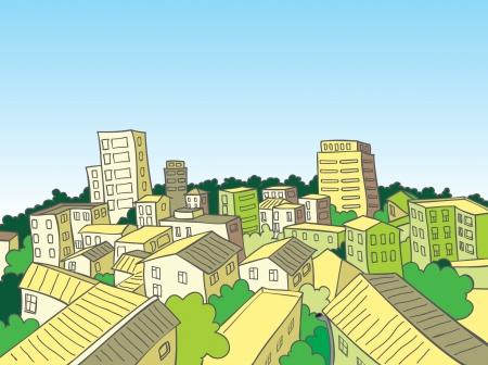 vista desde arriba: Cartoon vista de la ciudad desde arriba