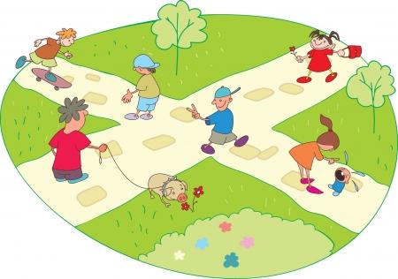 skateboard park: Personajes de dibujos animados en un paseo por el parque de la ciudad