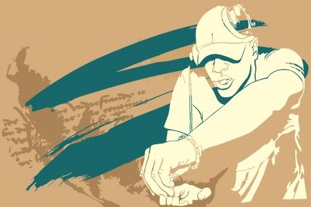 Grunge concert poster with dj Illustration