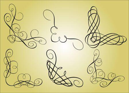 kalligrafikus vintage design elemek Illusztráció