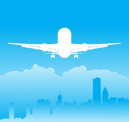 Plane over the city Stock Vector - 18336161