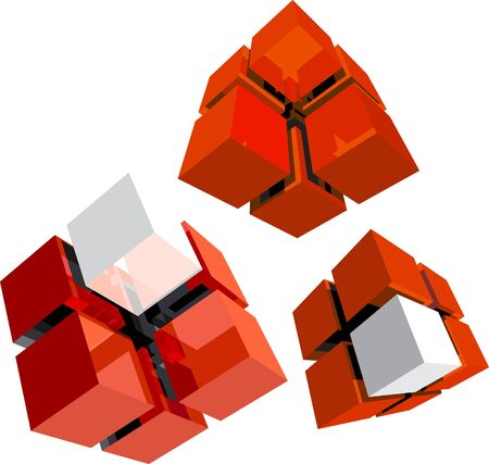 red cube: tre cubo rosso con segmenti bianchi