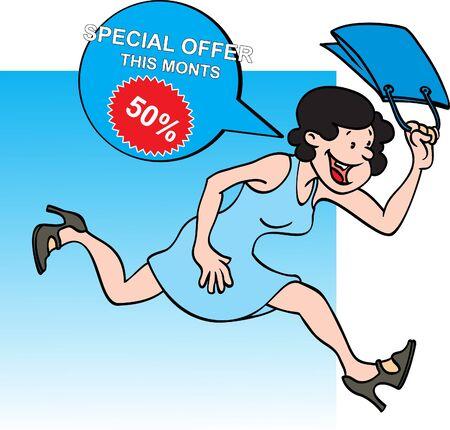 Shopping nő örömmel fut gazdaságban táska