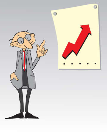 explained: Cartoon businessman explained the plan of action Stock Photo