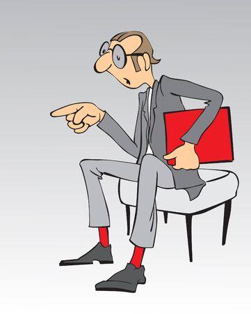 Cartoon üzletember, piros fájl Stock fotó