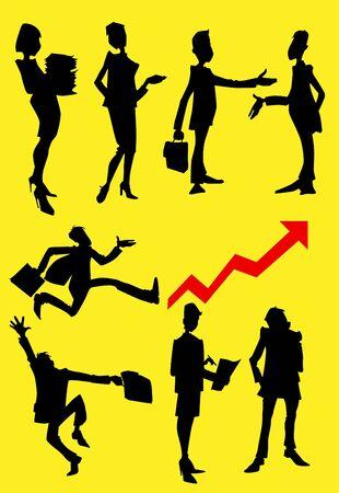 Cartoon sziluettek üzletemberek sárga alapon