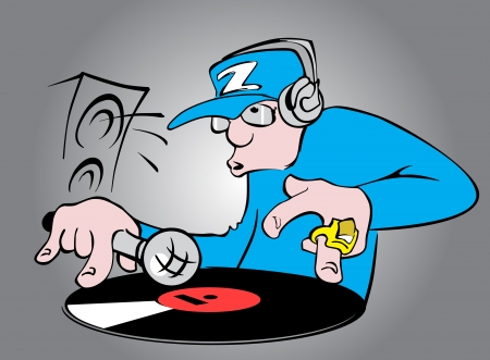 Cartoon disc jockey
