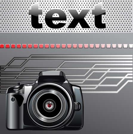 digital slr: Digital SLR camera on a metal background