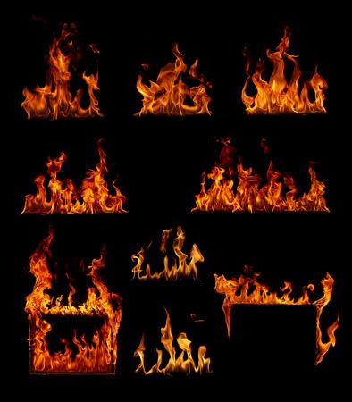 Nagy felbontású tűz gyűjtemény elszigetelt fekete háttér Stock fotó