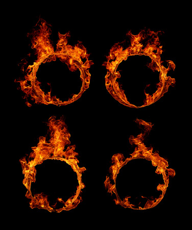 barbecue fire: Set Ring of fire in black background Stock Photo
