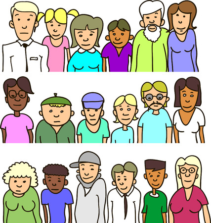Set of cartoon people different ages Illustration
