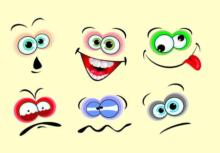 Set of 6 facial expressions ,easy to modify.