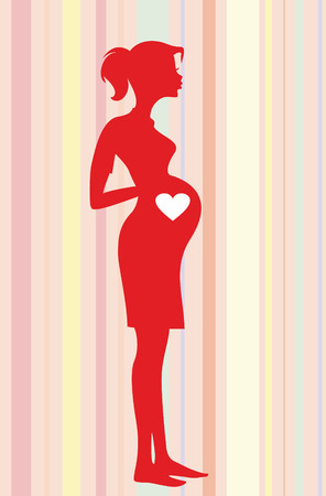 Silhouette pregnant woman Vector illustration Vector