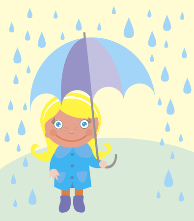 Cute girl with umbrella and raindrops over landscape. vector