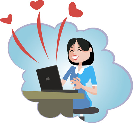 Girl sitting behind her laptop and dreaming about love. Vector Illustration.