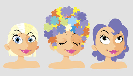 Cartoon Girl with flowers on her head Illustration