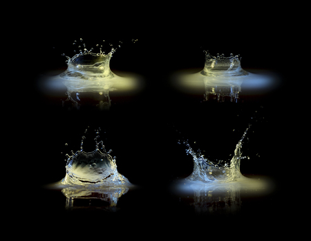 abstractly: Water splash collection in black Stock Photo
