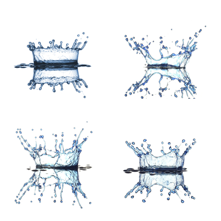 abstractly: Water splash collection isolated in white background