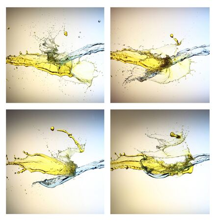 Collection yellow and blue liquid jets